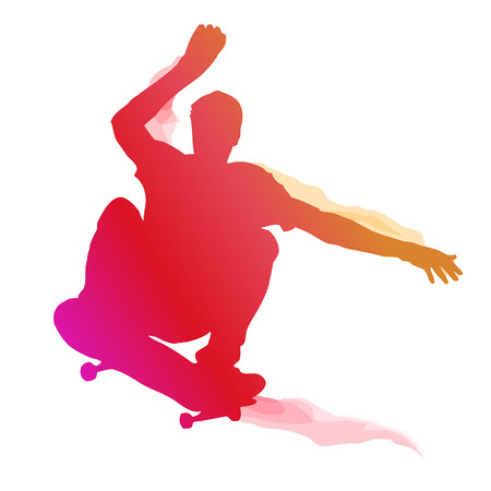 trick: Skaterboarder performing a trick. Vector illustration. Illustration