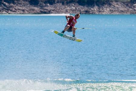 webb: FERREIRA DO ZEZERE, PORTUGAL - SEPTEMBER 19, 2015: JD Webb USA during the WWA Supra World Wakeboard Championship 2015 in Ferreira do Zezere, Portugal. Editorial