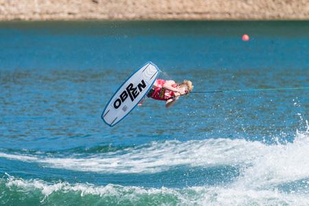 elliot: FERREIRA DO ZEZERE, PORTUGAL - SEPTEMBER 19, 2015: Elliot Digney (USA) during the WWA Supra World Wakeboard Championship 2015 in Ferreira do Zezere, Portugal.