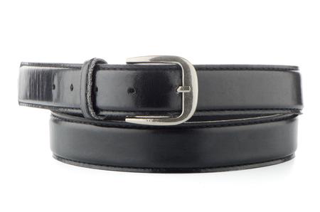 chrome man: Elegant black belt isolated on white background.