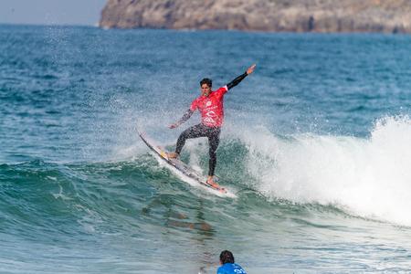 PENICHE, PORTUGAL - OCTOBER 23, 2015: Gabriel Medina BRA during the Moche Rip Curl Pro Portugal, Mens Samsung Galaxy Championship Tour 10.
