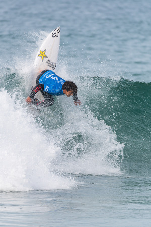 samsung galaxy: PENICHE, PORTUGAL - OCTOBER 23, 2015: Keanu Asing HAW during the Moche Rip Curl Pro Portugal, Mens Samsung Galaxy Championship Tour 10. Editorial