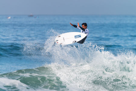 PENICHE, PORTUGAL - OCTOBER 23, 2015: Tomas Hermes BRA during the Moche Rip Curl Pro Portugal, Mens Samsung Galaxy Championship Tour 10.