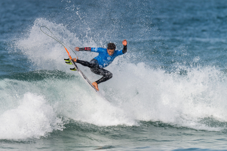 PENICHE, PORTUGAL - OCTOBER 23, 2015: Keanu Asing HAW during the Moche Rip Curl Pro Portugal, Mens Samsung Galaxy Championship Tour 10. Editorial