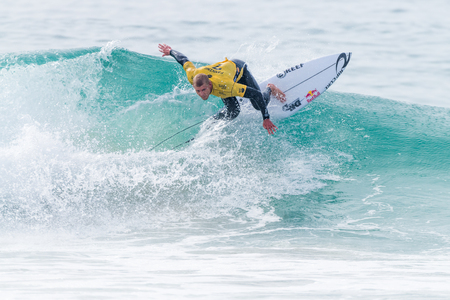 samsung galaxy: PENICHE, PORTUGAL - OCTOBER 23, 2015: Mick Fanning AUS during the Moche Rip Curl Pro Portugal, Mens Samsung Galaxy Championship Tour 10.
