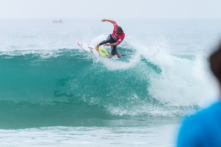 PENICHE, PORTUGAL - OCTOBER 23, 2015: Owen Wright AUS during the Moche Rip Curl Pro Portugal, Mens Samsung Galaxy Championship Tour 10.