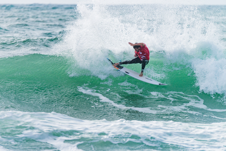 samsung galaxy: PENICHE, PORTUGAL - OCTOBER 30, 2015: Jeremy Flores FRA during the Moche Rip Curl Pro Portugal, Mens Samsung Galaxy Championship Tour 10.