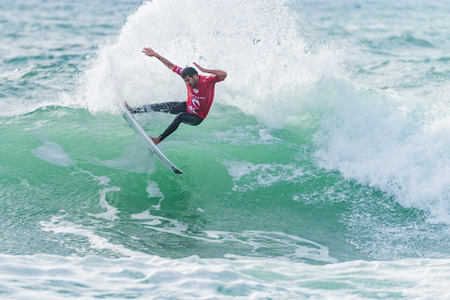 PENICHE, PORTUGAL - OCTOBER 30, 2015: Jeremy Flores FRA during the Moche Rip Curl Pro Portugal, Mens Samsung Galaxy Championship Tour 10.