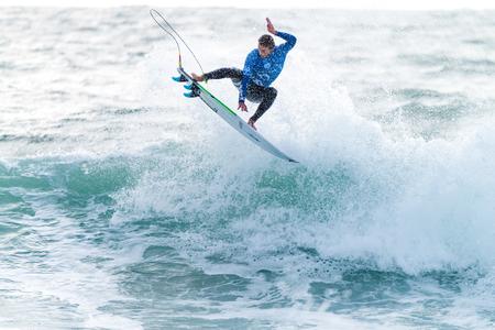 PENICHE, PORTUGAL - OCTOBER 30, 2015: Brett Simpson USA during the Moche Rip Curl Pro Portugal, Mens Samsung Galaxy Championship Tour 10.