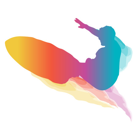 surfer silhouette: Surfer silhouette riding a big wave with colourful grandient.