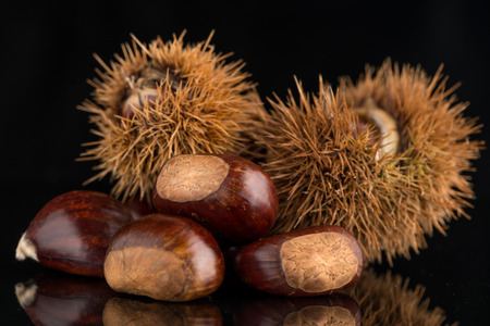 foetus: Closeup of chestnuts on a black reflective background.