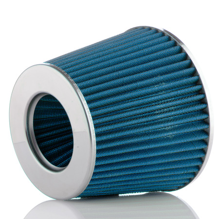 modification: Air cone filter on white background. Vehicle Modification Accessories. Stock Photo