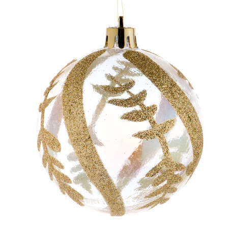 golden ball: Big golden Christmas ball decoration isolated on white background.
