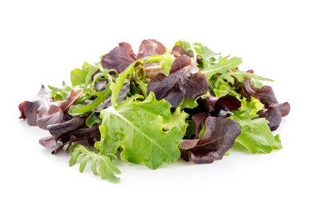 Salad mix with rucola, frisee, radicchio and lamb's lettuce. Isolated on white background.