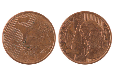 pillage: Five Brazilian centavos coin isolated on white background.