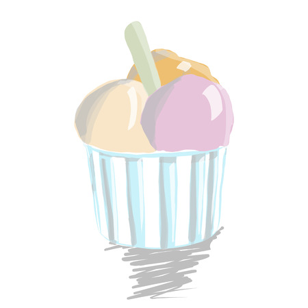 ice cream scoop: Ice cream scoop in paper cup on white background. Illustration