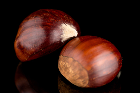 reflective background: Closeup of chestnuts on a black reflective background.