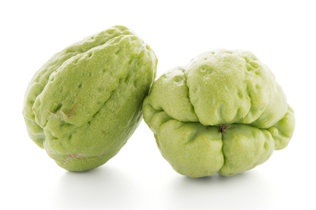 chow: Chayote also known as chow chow and Chu Chu isolated on white. Stock Photo