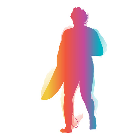 surfer silhouette: Surfer silhouette walking with surfboard with colourful grandient. Illustration