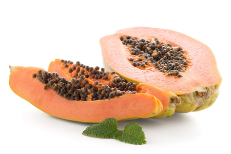 grope: Fresh and tasty papaya on white background.
