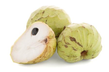 reticulata: Custard apple, also known as Bullocks or Bulls Heart on white background.