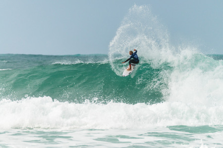 hing: ERICEIRA, PORTUGAL - JANUARY 12, 2015: Kai Hing AUS during the 2016 World Junior Championships, Mens Junior Tour 1 at Ribeira DIlhas beach - Ericeira, Portugal. Editorial