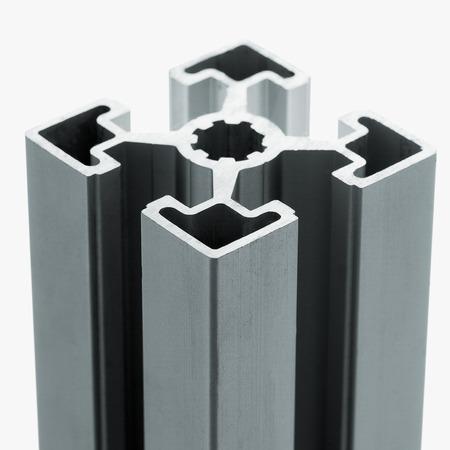 extrusion: Aluminum profile accessory isolated on white background.