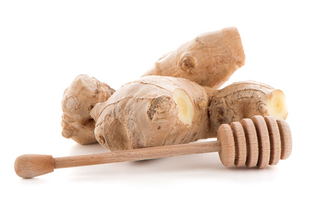 drizzler: Ginger root and drizzler isolated on white background. Stock Photo