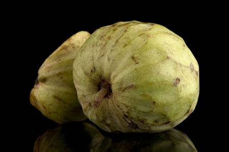 reticulata: Custard apple, also known as Bullocks or Bulls Heart.On black with reflection. Stock Photo