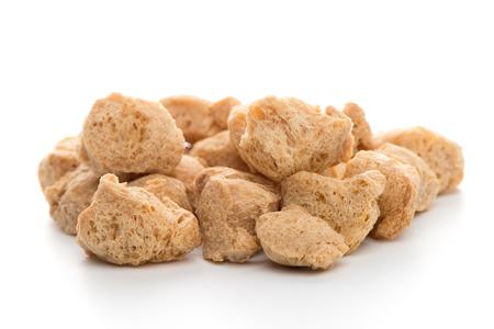 chunks: Soya chunks isolated on white background. Closeup. Stock Photo