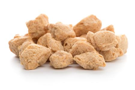 golden bean: Soya chunks isolated on white background. Closeup. Stock Photo