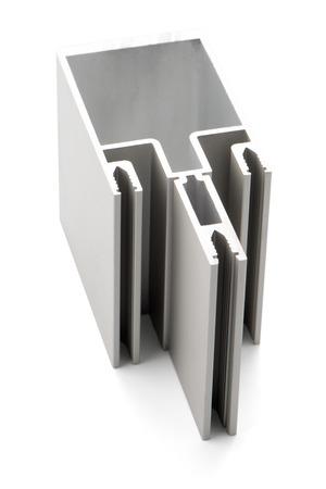 extrusion: Aluminium profile sample isolated on white background.