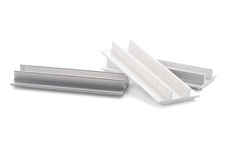 aluminium: Aluminium profile sample isolated on white background.