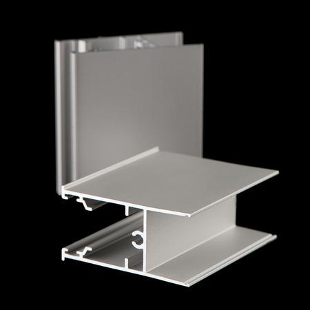 aluminium: Aluminium profile sample isolated on black background. Stock Photo