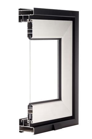 aluminum: Aluminium window sample isolated on white background.