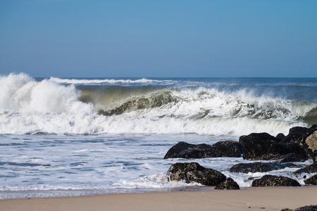 ocean and sea: Atlantic waves at Costa Nova, Portugal. Stock Photo