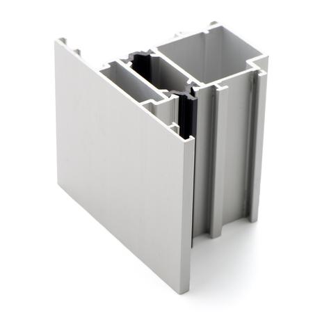 aluminium background: Aluminium profile sample isolated on white background.