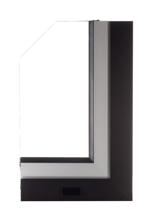 aluminium background: Aluminium window sample isolated on white background.