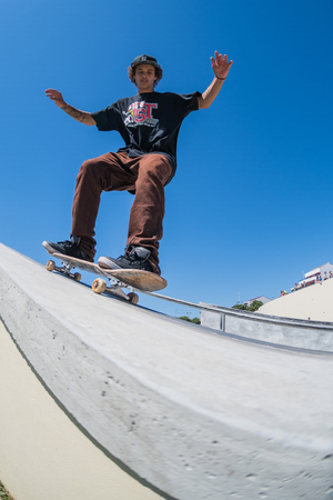 POVOA DE VARZIM, PORTUGAL - JULY 24, 2016: Thiago Monteiro during  the 2nd Stage of DC Skate Challenge by Moche. Editorial