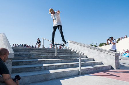tough man: POVOA DE VARZIM, PORTUGAL - JULY 24, 2016: Bruno Senra during  the 2nd Stage of DC Skate Challenge by Moche.