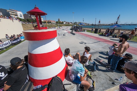 POVOA DE VARZIM, PORTUGAL - JULY 24, 2016: Skatepark overview during  the 2nd Stage of DC Skate Challenge by Moche.