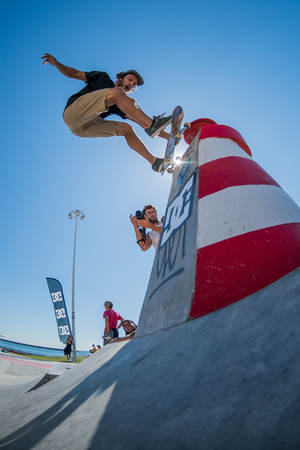 POVOA DE VARZIM, PORTUGAL - JULY 24, 2016: Pedro Roseiro during  the 2nd Stage of DC Skate Challenge by Moche.