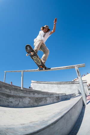 tough man: POVOA DE VARZIM, PORTUGAL - JULY 24, 2016: Pedro Fangueiro during  the 2nd Stage of DC Skate Challenge by Moche.