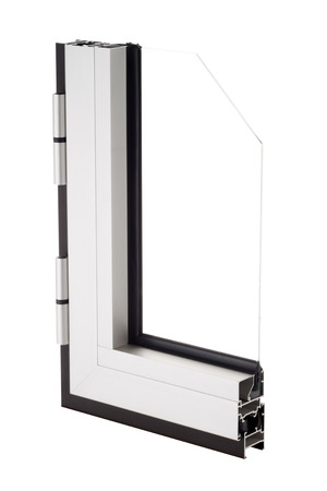 aluminium: Aluminium window sample isolated on white background.