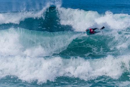 bodyboarder: VIANA DO CASTELO, PORTUGAL - SEPTEMBER 22, 2016: Dave Hubbard (HAW) during  the Viana World Bodyboard Championship 2016. Editorial