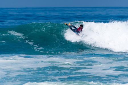 VIANA DO CASTELO, PORTUGAL - SEPTEMBER 22, 2016: Mathias Dias (CHI) during  the Viana World Bodyboard Championship 2016. Editorial