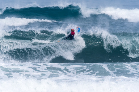 VIANA DO CASTELO, PORTUGAL - SEPTEMBER 22, 2016: Amaury Lavernhe (REU) during  the Viana World Bodyboard Championship 2016. Editorial