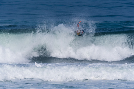 VIANA DO CASTELO, PORTUGAL - SEPTEMBER 22, 2016: Ethan Nel (RSA) during  the Viana World Bodyboard Championship 2016.