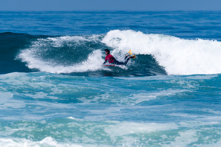 VIANA DO CASTELO, PORTUGAL - SEPTEMBER 22, 2016: Mathias Dias (CHI) during  the Viana World Bodyboard Championship 2016. Editorial