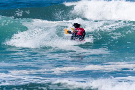 bodyboard: VIANA DO CASTELO, PORTUGAL - SEPTEMBER 22, 2016: Mathias Dias (CHI) during  the Viana World Bodyboard Championship 2016. Editorial